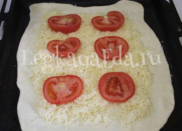 пирог с помидорами и сыром из слоеного теста