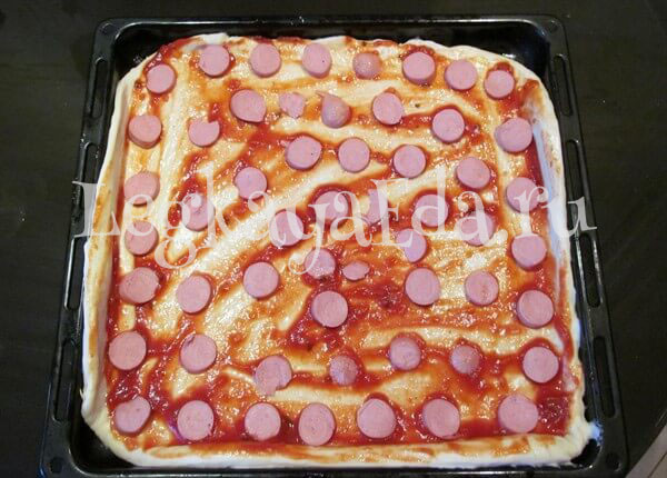 Рецепты пиццы в домашних условиях с пошагово с колбасой
