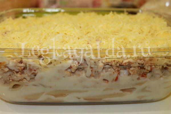запеканка макароны с фаршем в духовке рецепт с фото
