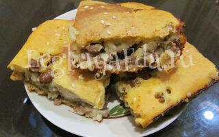 Заливной пирог с фаршем на кефире в духовке: рецепт на жидком тесте быстро и вкусно