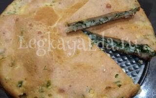 Заливной пирог с зеленым луком и яйцом на сметане в духовке — быстро и вкусно