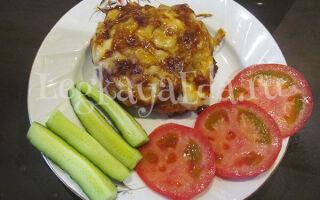 Стожки из фарша под шубой в духовке с картофелем и сыром