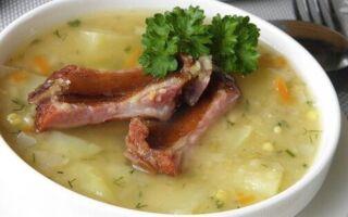 Гороховый суп с копчеными ребрышками — классический рецепт в кастрюле