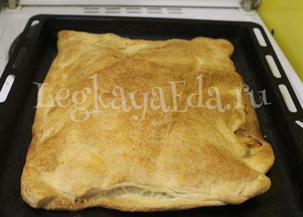 пирог с сыром из слоеного теста рецепт с фото