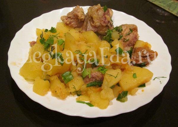 тушеная картошка с мясом в кастрюле пошаговый рецепт