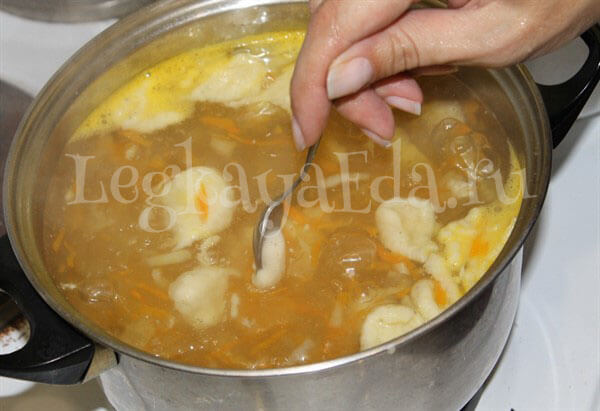 суп с клёцками пошаговый рецепт с фото с курицей