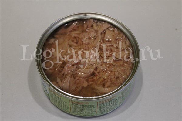 диетический салат с тунцом консервированным