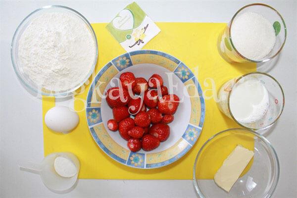 ингредиенты для приготовления пирога с клубникой