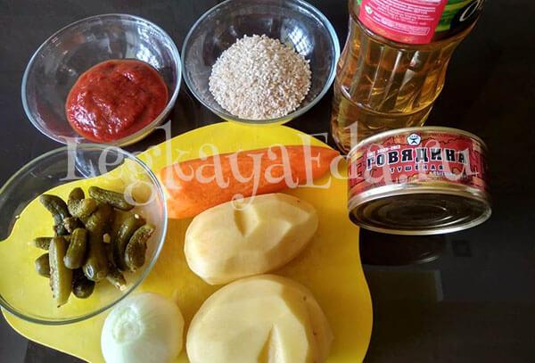 ингредиенты для рассольника с тушенкой и рисом