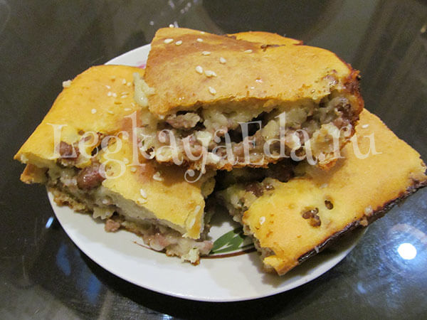заливной пирог с фаршем на кефире в духовке