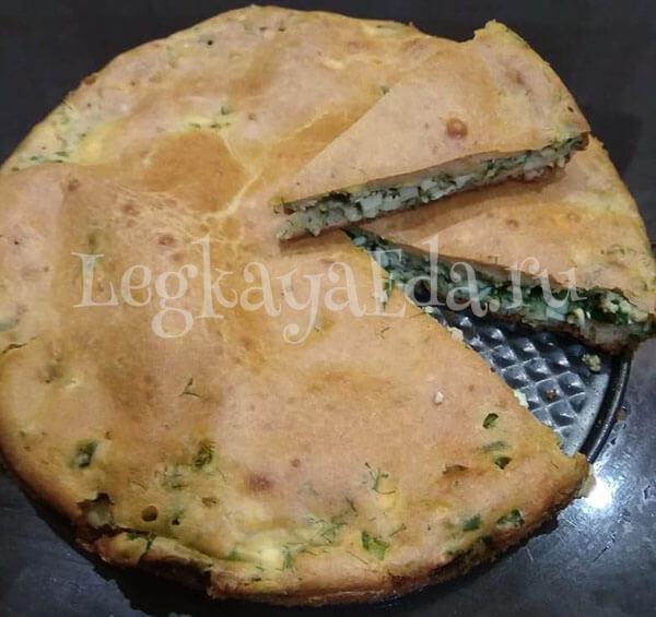заливной пирог с луком и яйцом в духовке на сметане