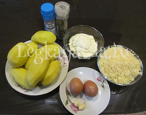 ингредиенты для запеканки из тертого картофеля