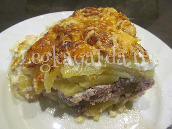 картошка в духовке с фаршем и сыром