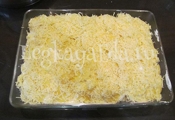картофель с фаршем запеченный в духовке с сыром и майонезом